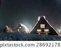shirakawa-go, shirakawago, having a steep thatched rafter roof 28692178