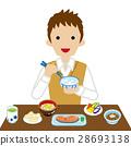 일식 아침 식사를 남자 고교생 긴팔 28693138