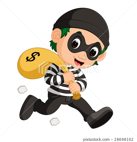 thief carrying bag of money 28698102