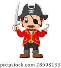 Cartoon captain pirate holding a sword 28698133