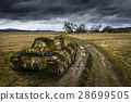 Army tank on the muddy field under dramatic sky. 28699505