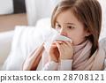 Pleasant ill little girk using handkerchief 28708121