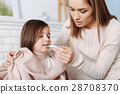 Pleasant caring mother curing her daughter 28708370