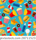 Fast food snacks and drinks seamless background 28711523