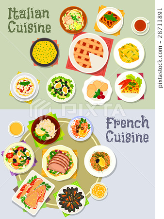 French and italian cuisine dinner icon set 28711891