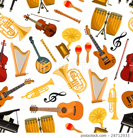 Musical instruments vector seamless pattern 28712033