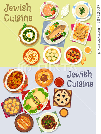 Jewish cuisine kosher food icon for menu design 28712037