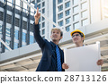 businessman worker handshaking on construction  28713126