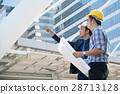 businessman worker handshaking on construction  28713128