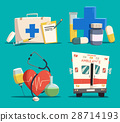 First aid kit and cross, emergency bus and heart 28714193