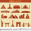World landmarks flat icon set. Travel and Tourism 28715211