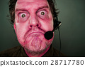 Grumpy Red Eyes and Face Customer Support Man with Headset 28717780