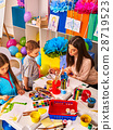 Children painting and drawing together . Craft 28719523