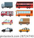 City transport set taxi, bus, truck, minibus, car 28724740