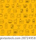 Line icons seamless pattern, baverage 28724958