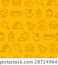 Line icons seamless pattern, Fast Food 28724964