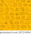 Line icons seamless pattern, Food 28724984