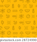Line icons seamless pattern, summer 28724990