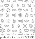 Line icons seamless pattern, summer 28724991