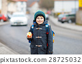 Little kid boy with eye glasses walking from the 28725032