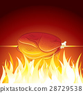 Fried Chicken Preparing on Hot Flame. Vector Image 28729538