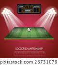 Soccer stadium with scoreboard 28731079