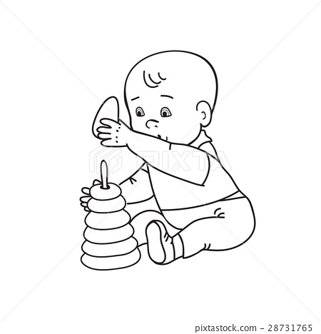 Little lovely baby boy playing with toys Kid plays 28731765