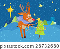 Deer in Scarf Decorating Christmas Tree at Snow 28732680