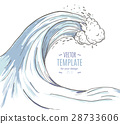 Great wave in a vintage retro hand drawn style 28733606