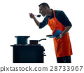 man cooking chef silhouette isolated 28733967