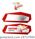Set beautiful cartoon icon and banner of fast food 28737994