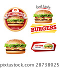 Set beautiful realistic icons of fast food 28738025