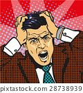 stressed man upset frustrated pop art comic retro 28738939