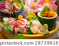 Japanese plate of sashimi with raw seafood 28739616