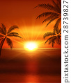 illustration of sunset view in beach with palm 28739827