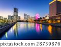 Cityscape of Yokohama city at night, Japan 28739876