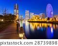 Cityscape of Yokohama city at night, Japan 28739898