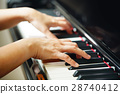 Scene of pianist hands from beside angle. 28740412