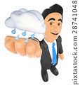 3D Weather man with a cloud with rain. Rainy day 28741048