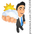 3D Weather man with sun and cloud. Cloudy day 28741049