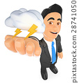 3D Weather man with cloud and lightning 28741050