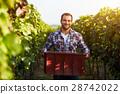 Farmer holding crate of grapes 28742022