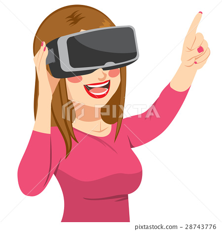 Woman Enjoying Virtual Reality Headset 28743776