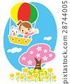 cherry blossom, air balloon, carriage 28744005