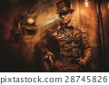 steampunk style man with various mechanical 28745826