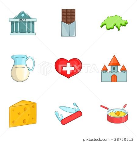 Switzerland travel icons set, cartoon style 28750312