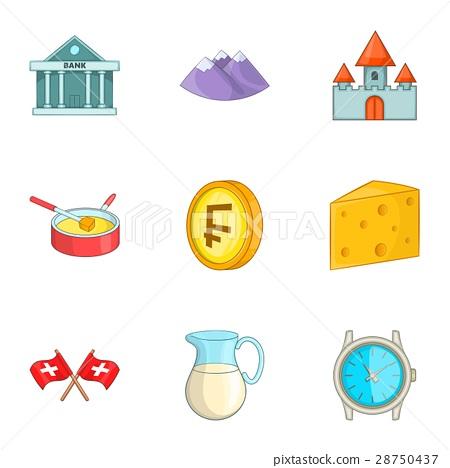 Switzerland national cultural symbols icons set 28750437