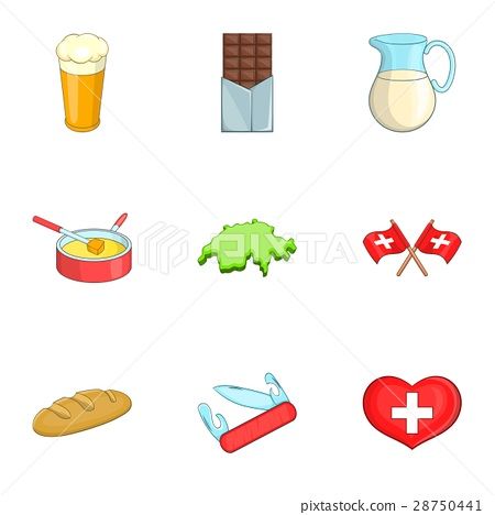 Travel Switzerland symbols icons set cartoon style 28750441