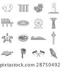 Singapore travel icons set, monochrome style 28750492