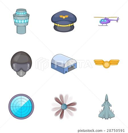 Aviation icons set, cartoon style 28750591